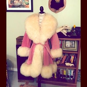 Vintage Pink Suede Shearling Lilli Ann Coat sz S